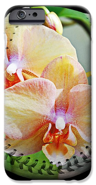 Rainbow Orchids Baseball Square iPhone Case by Andee Design
