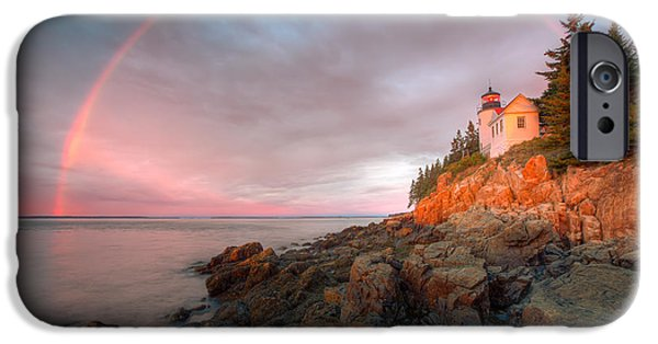 United iPhone Cases - Rainbow Over Bass Harbor Head Light I iPhone Case by Clarence Holmes
