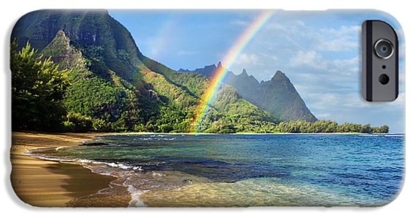 Hawaii Islands iPhone Cases - Rainbow over Haena Beach iPhone Case by M Swiet Productions