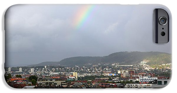 Oslo iPhone Cases - Rainbow over Oslo iPhone Case by Carol Groenen