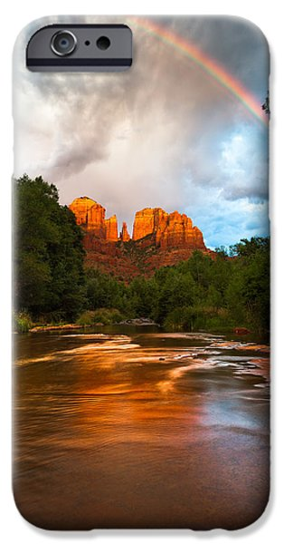 Oak Creek iPhone Cases - Rainbow over Sedona iPhone Case by Adam Schallau