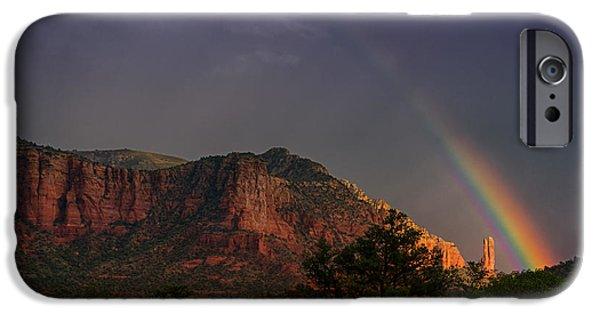 Sedona iPhone Cases - Rainbow Over Sedona  iPhone Case by Saija  Lehtonen