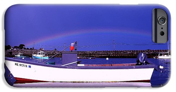 Garrison Cove iPhone Cases - Rainbow over the Cribstone iPhone Case by Donnie Freeman