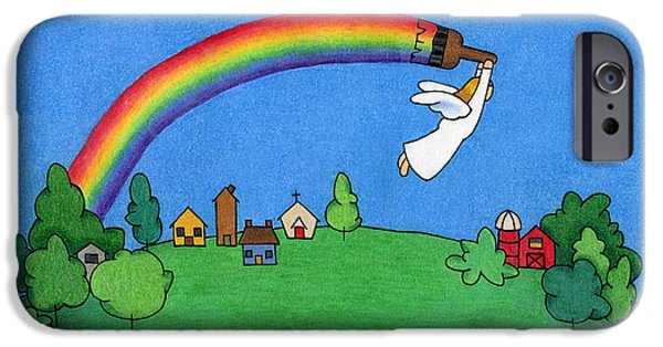 Religious Drawings iPhone Cases - Rainbow Painter iPhone Case by Sarah Batalka