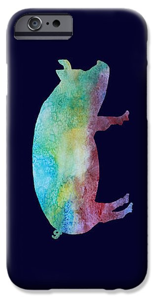 Pigs iPhone Cases - Rainbow Pig iPhone Case by Jenny Armitage