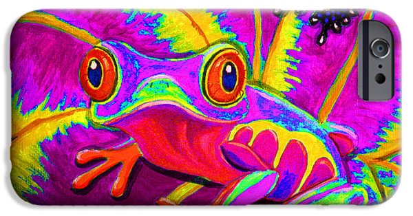 Amphibians Digital Art iPhone Cases - Rainbow Red Eyed Tree Frog iPhone Case by Nick Gustafson