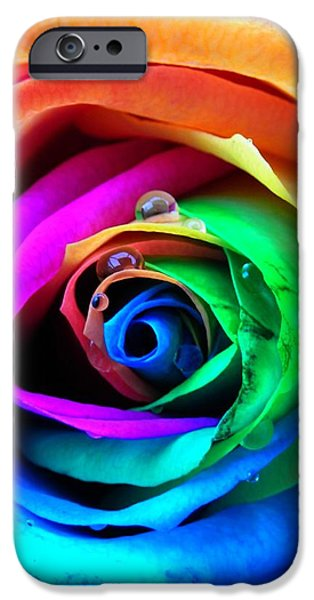 Rainbow Rose iPhone Case by Juergen Weiss