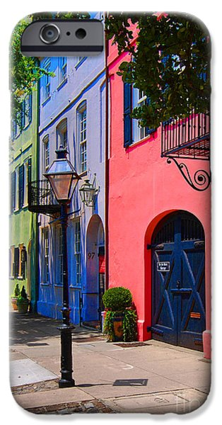 Historic Home iPhone Cases - Rainbow Row Charleston iPhone Case by Skip Willits