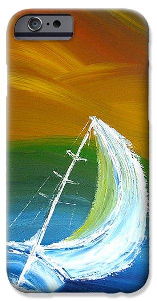 Abstract Seascape iPhone Cases - Rainbow sailing iPhone Case by Nikolina Gorisek