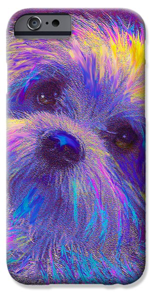 Dogs Digital Art iPhone Cases - Rainbow Shih Tzu iPhone Case by Jane Schnetlage