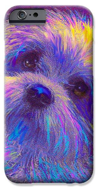 Puppy Digital iPhone Cases - Rainbow Shih Tzu iPhone Case by Jane Schnetlage