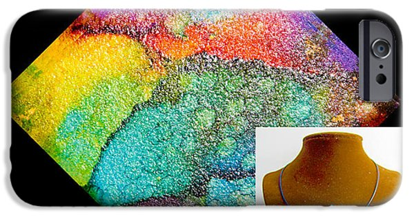 Vibrant Jewelry iPhone Cases - Rainbow Sky Necklace iPhone Case by Alene Sirott-Cope