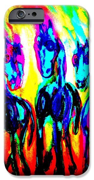 Component Paintings iPhone Cases - Rainbow stallions iPhone Case by Hilde Widerberg