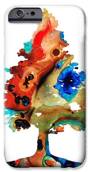 Winter Mixed Media iPhone Cases - Rainbow Tree 2 - Colorful Abstract Tree Landscape Art iPhone Case by Sharon Cummings
