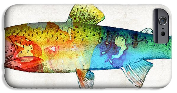 """rainbow Trout"" iPhone Cases - Rainbow Trout Art by Sharon Cummings iPhone Case by Sharon Cummings"