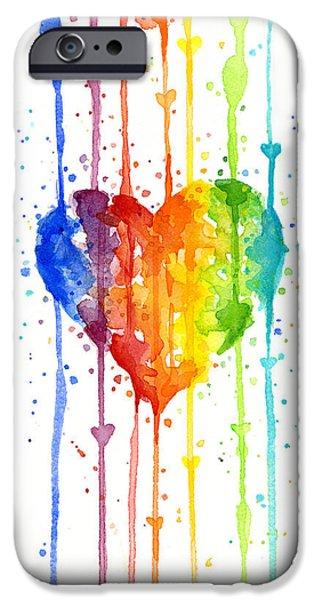 Rainbow Colors iPhone Cases - Rainbow Watercolor Heart iPhone Case by Olga Shvartsur