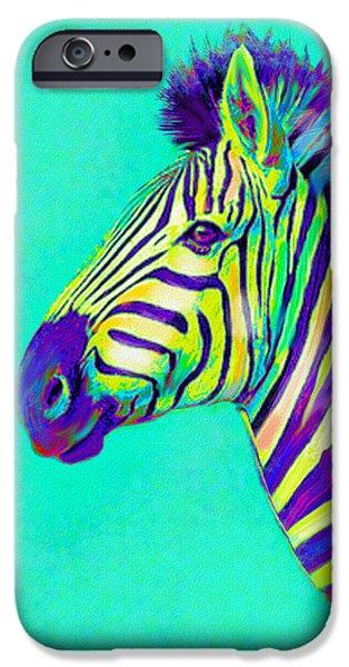 Zebra Digital Art iPhone Cases - Rainbow zebra 2013 iPhone Case by Jane Schnetlage