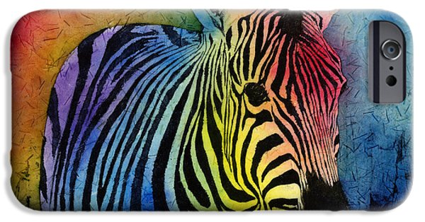 Safari Prints iPhone Cases - Rainbow Zebra iPhone Case by Hailey E Herrera