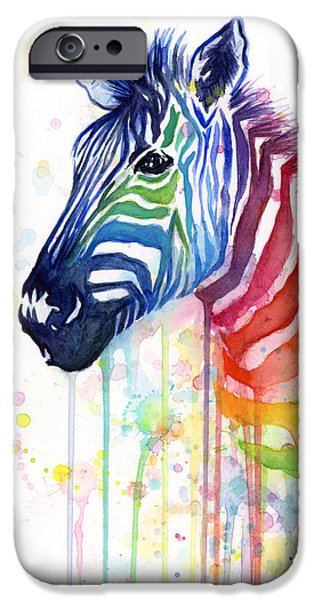 Stripes iPhone Cases - Rainbow Zebra - Ode to Fruit Stripes iPhone Case by Olga Shvartsur