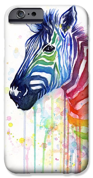 Watercolors Paintings iPhone Cases - Rainbow Zebra - Ode to Fruit Stripes iPhone Case by Olga Shvartsur