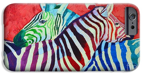 Couple iPhone Cases - Rainbow Zebras In Love iPhone Case by Ana Maria Edulescu