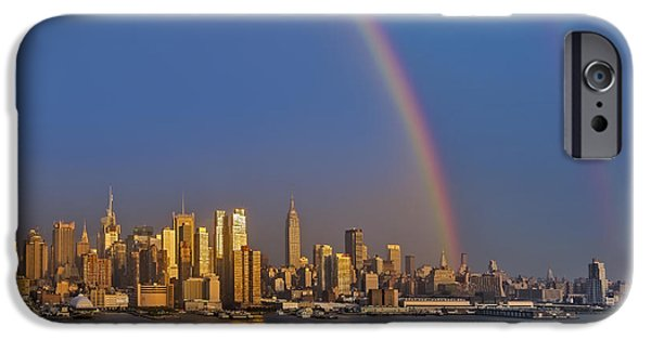 42nd Street iPhone Cases - Rainbows Over the New York City Skyline iPhone Case by Susan Candelario