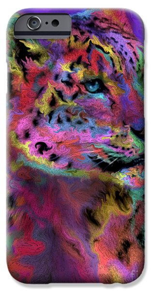 Snow iPhone Cases - Rainbows Snow Leopard iPhone Case by Alixandra Mullins