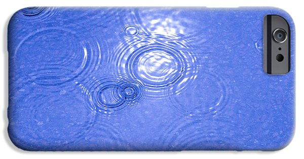 Asphalt iPhone Cases - Raindrops falling in water puddle iPhone Case by Kerstin Ivarsson