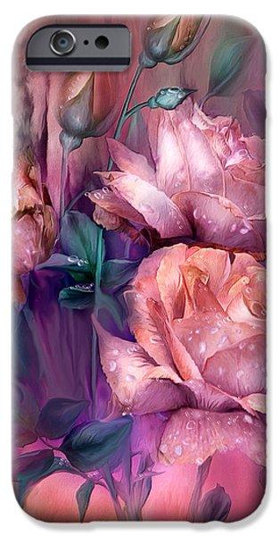 Peach Roses iPhone Cases - Raindrops On Peach Roses iPhone Case by Carol Cavalaris