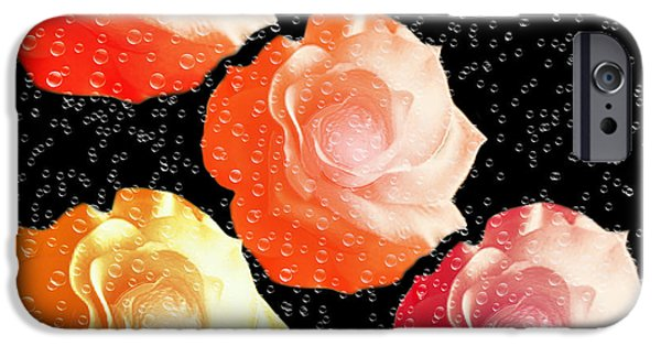 Abstract Digital Mixed Media iPhone Cases - Raindrops On Roses - My Favorite Things iPhone Case by Andee Design