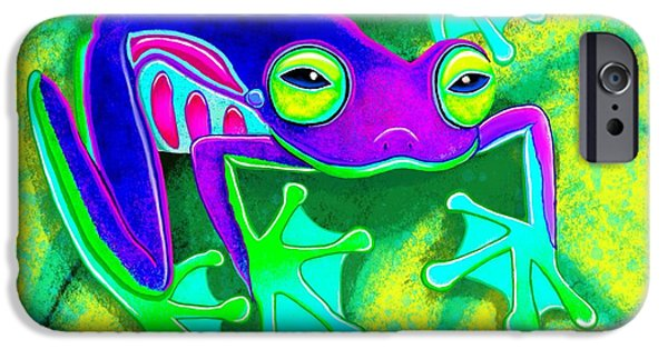 Amphibians Digital Art iPhone Cases - Rainforest Frog iPhone Case by Nick Gustafson