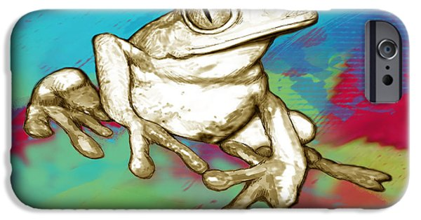 Charcoal Mixed Media iPhone Cases - Rainforest Frog Stylised Pop Art Drawing Portrait Poster iPhone Case by Kim Wang