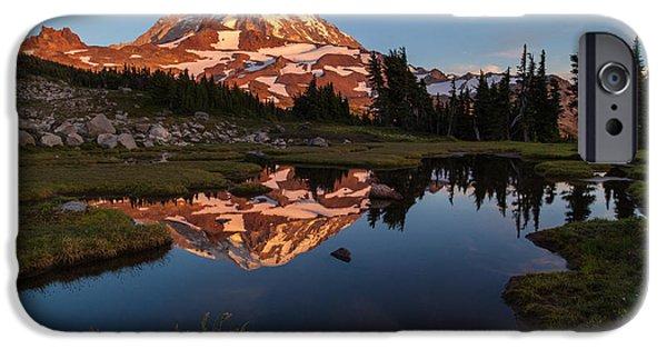 Mount Rainier iPhone Cases - Rainier Last Light iPhone Case by Mike Reid