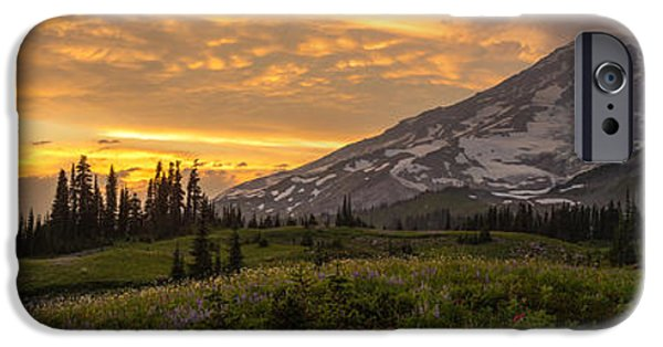Meadow Photographs iPhone Cases - Rainier Wildflowers Meadow Sunset iPhone Case by Mike Reid