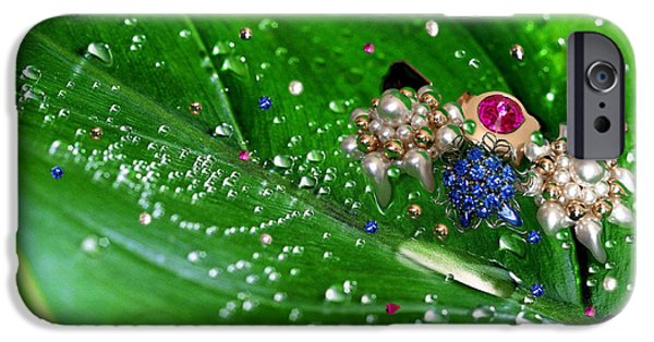 Abstract Digital Photographs iPhone Cases - Raining Jewels iPhone Case by Cheryl Young