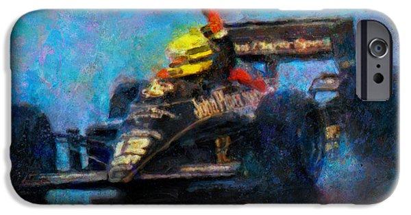 Ayrton Senna iPhone Cases - Rainman iPhone Case by Alan Greene