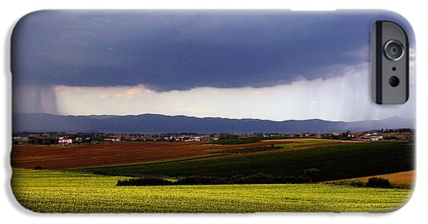 Field. Cloud iPhone Cases - Rainstorm In The Distance iPhone Case by Tim Holt