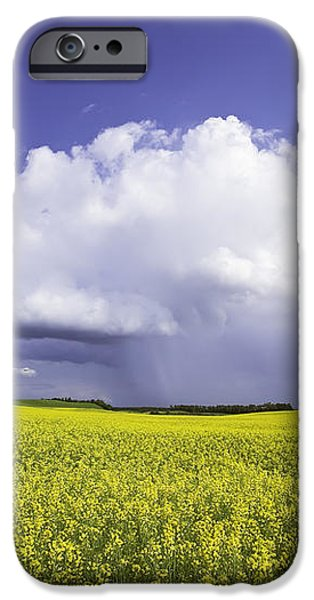 Rainstorm Over Canola Field Crop iPhone Case by Ken Gillespie