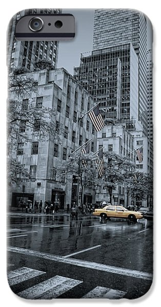 Colorkey iPhone Cases - rainy 5th Ave iPhone Case by Joachim G Pinkawa