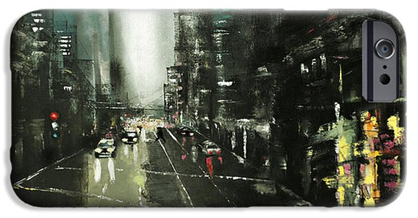 Recently Sold -  - Business Paintings iPhone Cases - Rainy Chicago in oil iPhone Case by Maja Sokolowska