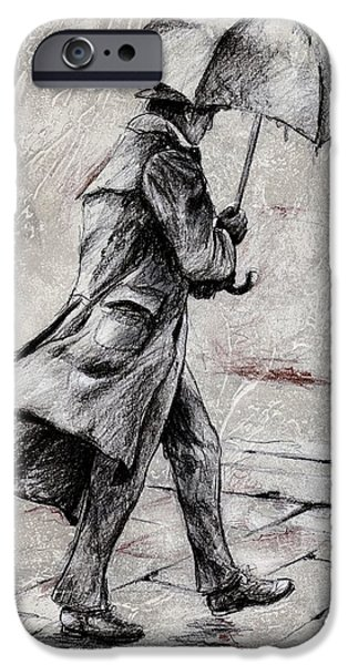 Umbrella Mixed Media iPhone Cases - Rainy Day #07 Drawing iPhone Case by Emerico Imre Toth
