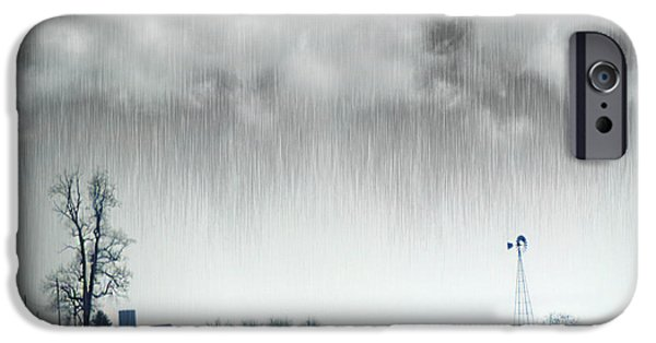 Rainy Day iPhone Cases - Rainy Day Farm Ver-1 iPhone Case by Larry Mulvehill