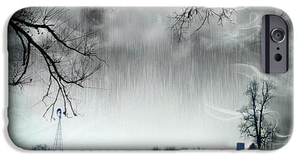 Rainy Day iPhone Cases - Rainy Day Farm Ver-5 iPhone Case by Larry Mulvehill