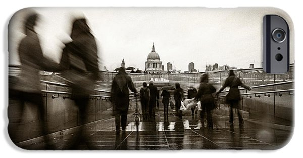 Raincoat iPhone Cases - Rainy Day in London With Vintage Filter iPhone Case by Susan  Schmitz
