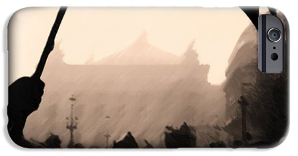 Rain Pastels iPhone Cases - Rainy Day in Paris iPhone Case by George Pedro