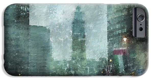 Franklin iPhone Cases - Rainy Day in Philadelphia  iPhone Case by Diane Diederich