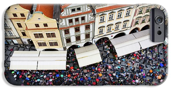 Rainy Day iPhone Cases - Rainy Day in Prague-1 iPhone Case by Diane Macdonald