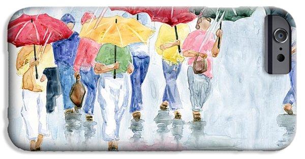 Umbrella iPhone Cases - Rainy Day in Rome iPhone Case by Marsha Elliott