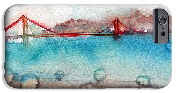 Golden Gate iPhone Cases - Rainy Day In San Francisco  iPhone Case by Linda Woods