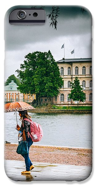 Rainy Day iPhone Cases - Rainy Day in Stockholm iPhone Case by Jim DeLillo